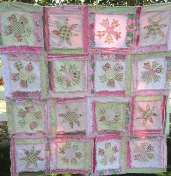 Flower Applique Quilt Pattern - Rag Quilt Pattern - Baby Quilt Patterns -  Easy Quilt Patterns - Beginner Quilt Pattern - Baby Sewing Pattern