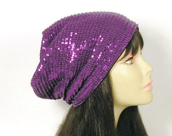 CUSTOM SIZE/LINING Purple Sequin Slouch Hat Purple Beanie Purple Sequined Hat Sequin Slouchy Hat Lined Sequined Hat Purple Slouchy Beanie