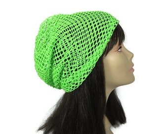8ea5021ad9e84 Neon Green Slouch Hat Unisex Neon Green Slouchy Hat Net Summer Beanie Neon  Green Summer Hat Net Slouchy Beanie FREE SHIPPING Custom Sizes