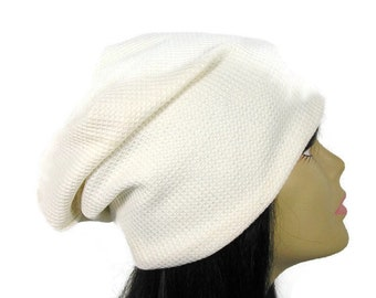 c57a3601d5c140 White Slouch Hat White Waffle Knit Slouchy Beanie Off White Slouch Hat  Women's Beanies Off White Slouch Hat Unisex Slouchy Hats