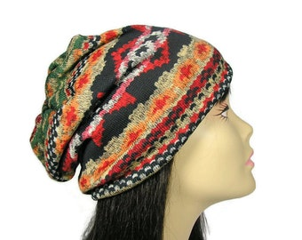 0e0482d449d Aztec Knit Slouchy Hat Tribal Print Slouch Hat Unisex Southwestern Knit Hat  Mans Beanie Womans Beanie Aztec Slouchy Beanie Custom Sizes