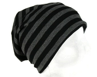 fe7997c314d Mens Slouchy Beanie CUSTOM SIZE Mans Slouch Hat Unisex Beanies Gray and Black  Striped Beanie Lightweight Womens Slouchy Tam Jersey Beanie