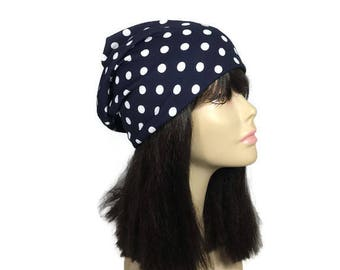 Navy Blue and White Polka Dot Beanie Slouchy Beanie Hats for Hair Loss  Chemo Caps Cotton Slouchy Hats for Women CUSTOM LINED Custom Sizes 1eedc5775d5f