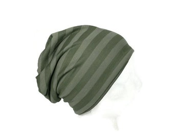 90c4e7362f1 Green Slouchy Hat Men s Slouchy Beanie Olive Green Slouch Hat Army Green  Striped Slouchy Hat Lightweight Unisex Slouchy Beanie Custom Size
