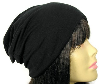 a7035dcdd43 100% Cotton Beanie Black Skully Black Skullies Cotton Slouchy Hat All Cotton  Dome Beanie Cotton Chem Caps Cotton Chemo Hats for Hair Loss