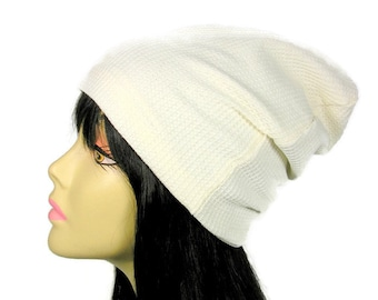 d15d1563d31 White Waffle Dome Beanie Off White Thermal Knit Beanie White Beanie Boho  Beanie Waffle Knit Beanie Thermal Knit Beanie
