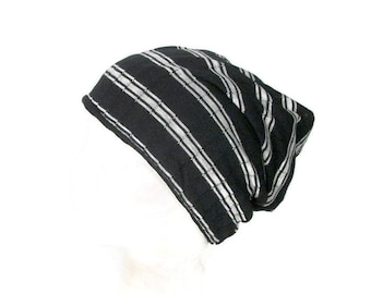 f727996c8e8b Unisex Hats Black and White Striped Beanie Jersey Knit Beanie Mens Slouchy  Hat Custom Size Hats Lightweight Beanies Lightweight Hats