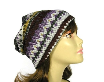 531f3feee8e Lightweight Aztec Knit Slouchy Beanie CUSTOM SIZE Lining Aztec Sweater Knit  Slouch Hat Southwestern Beanies Sweater Knit Slouchy Hat Aztec