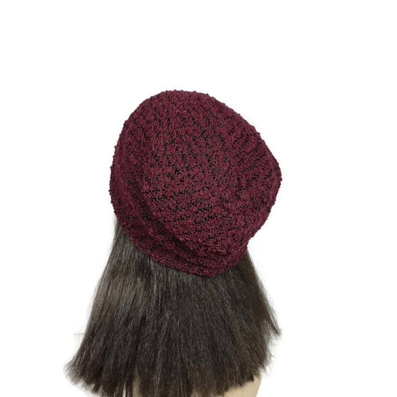 6c0550d802a Burgundy Knit Slouchy Beanie Burgundy and Black Boucle Knit