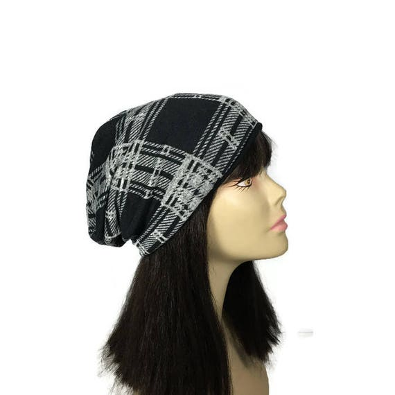 Buffalo Check Slouchy Hat Black and Gray Plaid Slouchy Hat  e52566ac28d