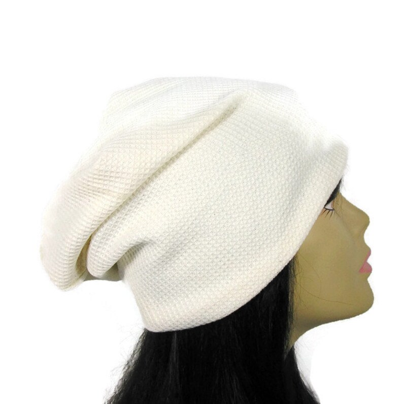 1d935bccf4f White Slouch Hat White Waffle Knit Slouchy Beanie Off White