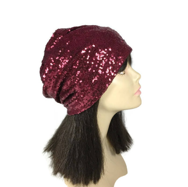 e597cf8daf8 Custom Size Lining Burgundy Sequin Beanie Hat for Hair Loss