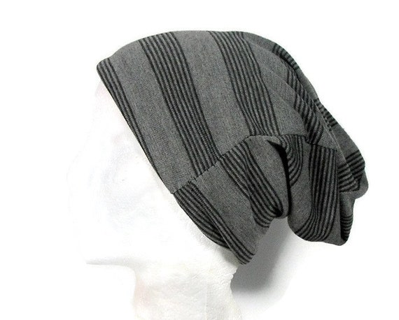 71e4b543158 Unisex Hats Black and Gray Striped Unisex Slouchy Beanie Hat