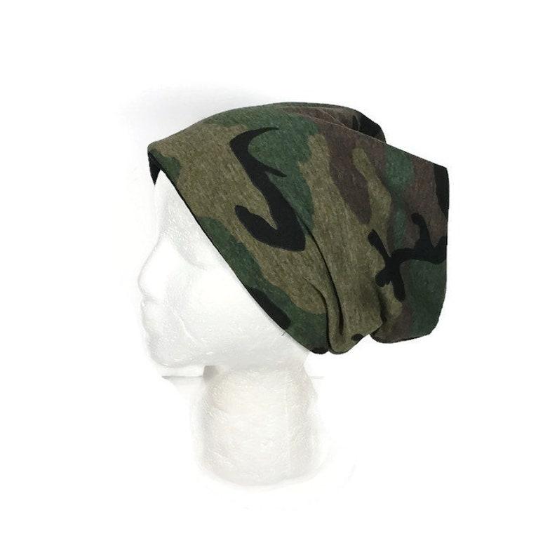 a2cadf42c Green Camo Slouchy Beanie Unisex Camo Hat Camo Hat for Men Camo Hat for  Women Camouflage Slouch Hat Camouflage Beanie Knit Jersey Camo Hat