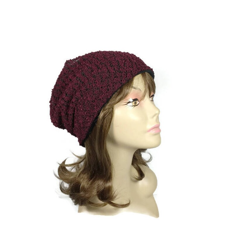 a6559845082 Burgundy Knit Slouchy Beanie Burgundy and Black Boucle Knit