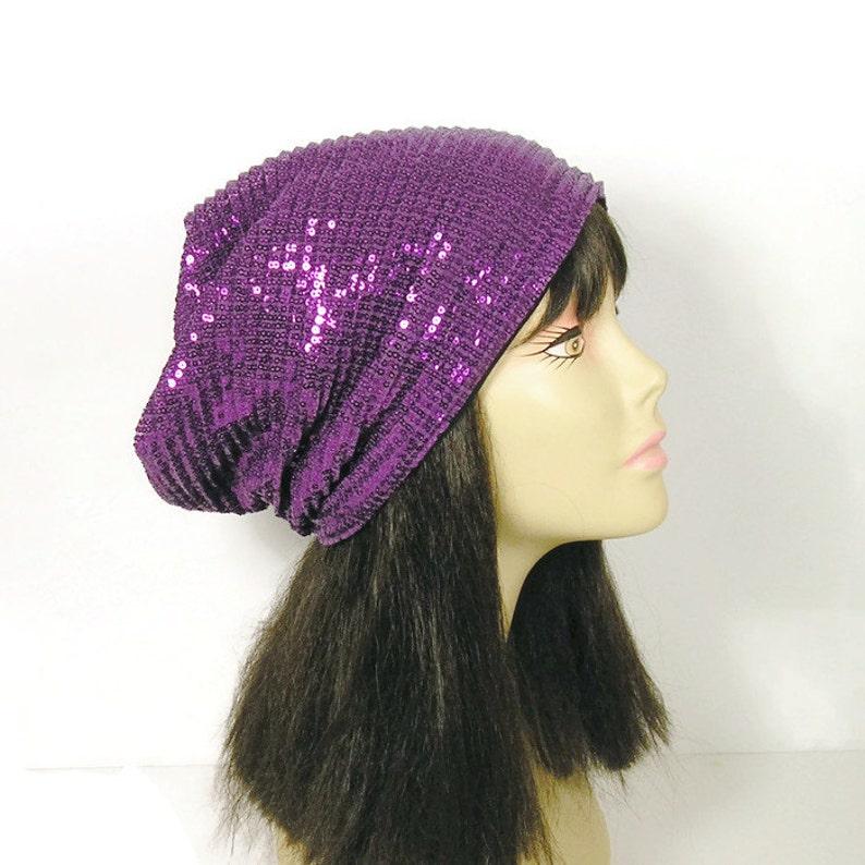 96d967d52c0 CUSTOM SIZE LINING Purple Sequin Slouch Hat Purple Beanie