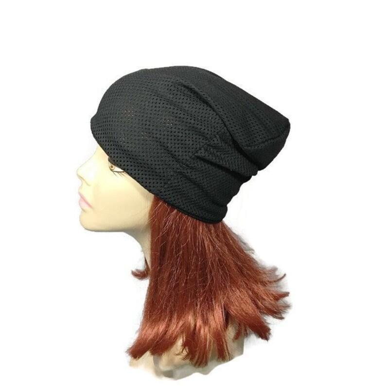 2b4c7f88c589e2 Black Mesh Skullcap Men's Black Slouch Hat Lightweight | Etsy