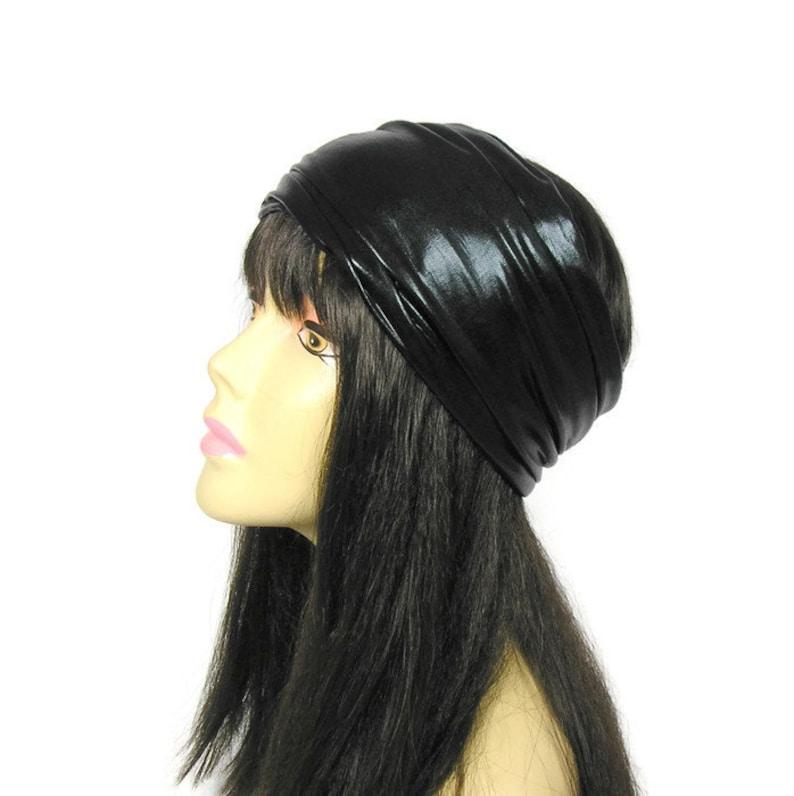 CUSTOM SIZE Faux Leather Headband Man's Vegan Black image 0