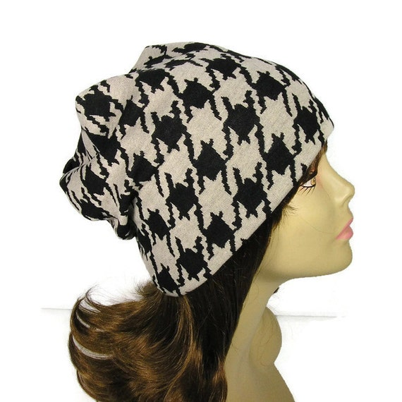 eb44adf21cc Houndstooth Beanie Black and Beige Houndstooth Slouchy Hat
