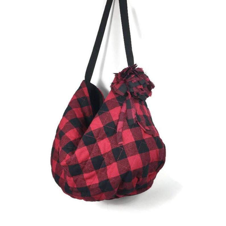 27fe6292043e Red and Black Buffalo Check Quilted Hobo Bag Handbag Red and
