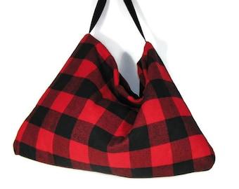 FREE SHIPPING Red and Black Buffalo Check Handbag Hobo Bag Buffalo Plaid Shoulder Bag Red and Black Buffalo Plaid Bag Buffalo Plaid Handbags