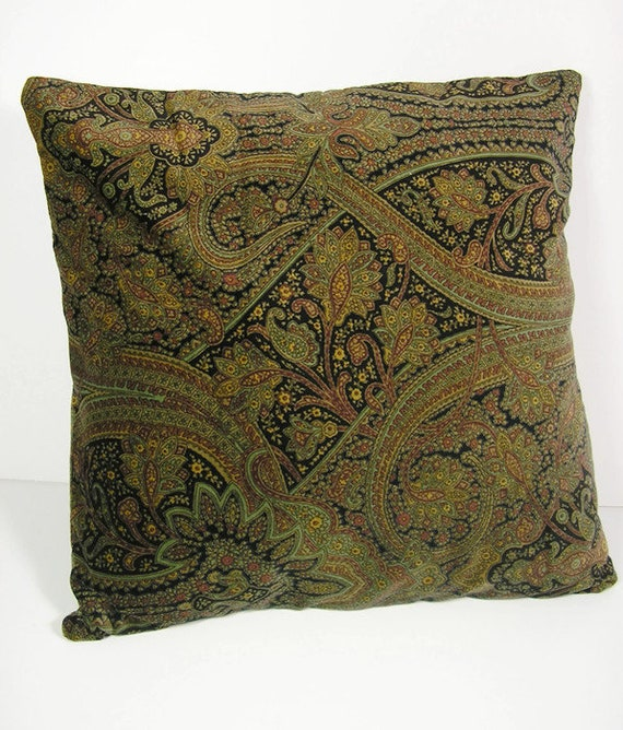 Paisley Print Pillows Green Brown Black Velveteen Throw Pillow Etsy Extraordinary Green Brown Decorative Pillows