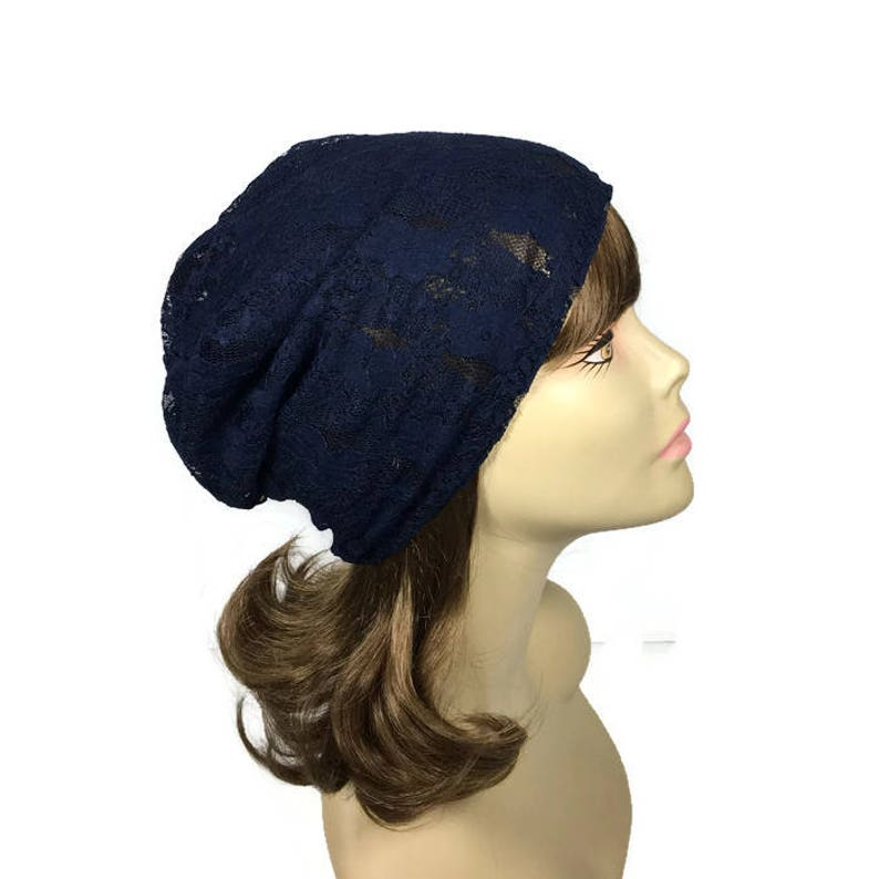 5ab766a577e Navy Blue Lace Hat CUSTOM SIZE Lace Hat Blue Lace Slouchy Hat