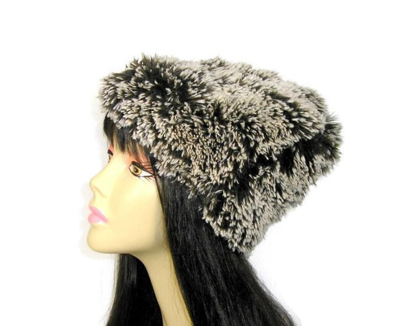 d5c3b26fbd1 Faux fur hat brown and white vegan fur hat faux fur beanie etsy jpg 794x636  Faux