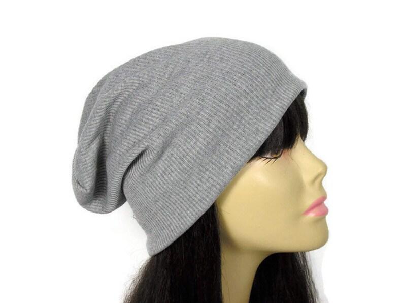 27c393ab5bf Black Gray Lightweight Slouch Hat Unisex Black Rib Knit