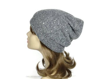 Sequin Sweater Knit Slouch Hat Gray Sequin Sweater Knit Slouchy Beanie Glam Slouch Hat Sparkle Beanie Women's Gray Knit Beanie CUSTOM SIZE