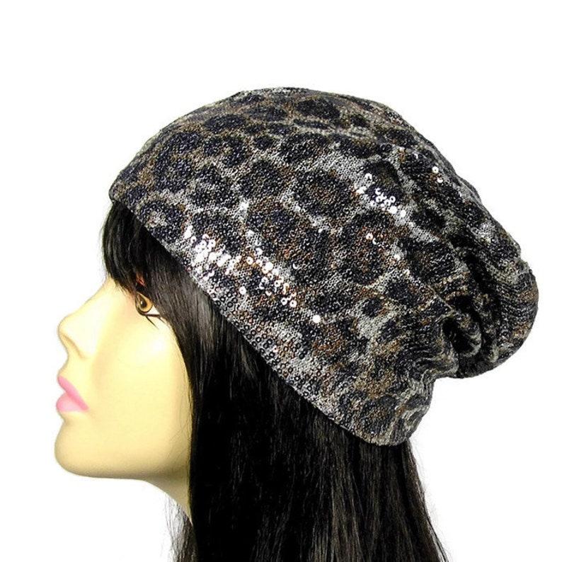 5469cbbf4f92 Sequin Leopard Print Slouch Hat Glam Animal Print Chemo Cap | Etsy