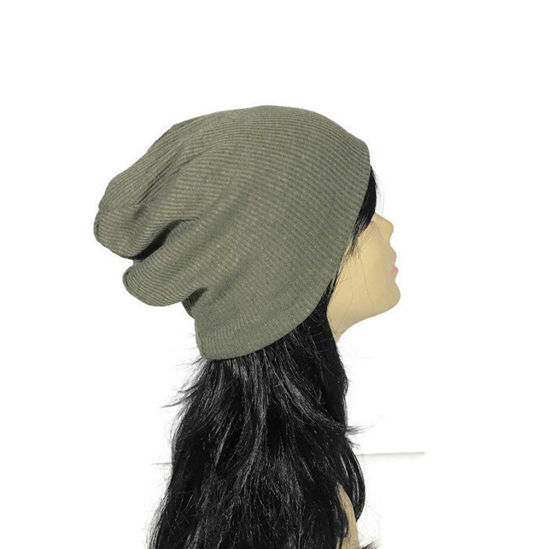 79bc84d7ac3 Army Green Rib Knit Beanie Olive Green Knit Slouchy Hat Camo