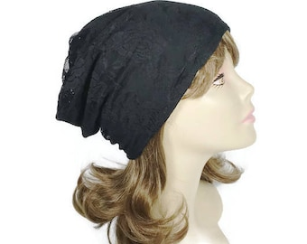 Black Lace Slouchy Hat Lined for All Seasons Reversible Black Lace Slouchy Beanie Black Lace Chemo Turban FREE SHIPPING/Custom Size/Lining