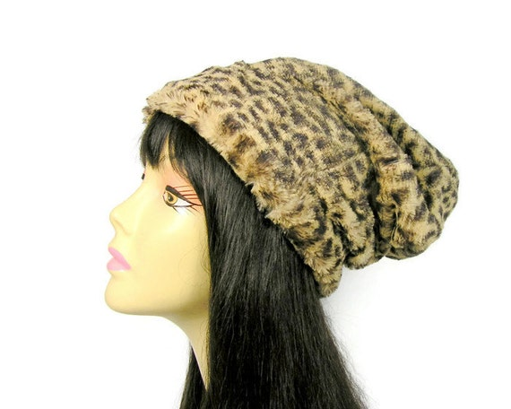 Faux Fur Leopard Print Hat Custom Size Winter Hat Faux Fur Ski  bab5192817e