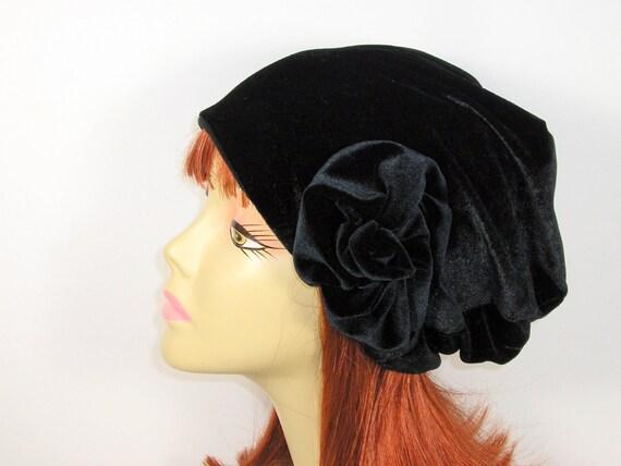 Schwarzer samt Mütze Hüte für Haar Verlust Chemo Mützen | Etsy