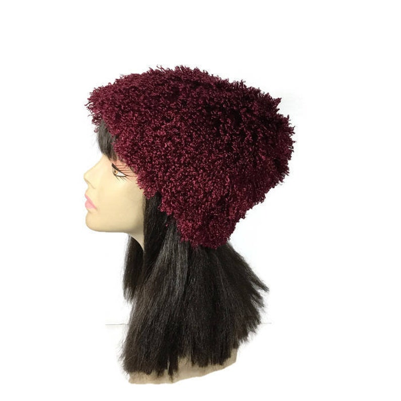 d391abdb149e8 CUSTOM SIZES Burgundy Faux Fur Hat Faux Fur Slouchy Hat