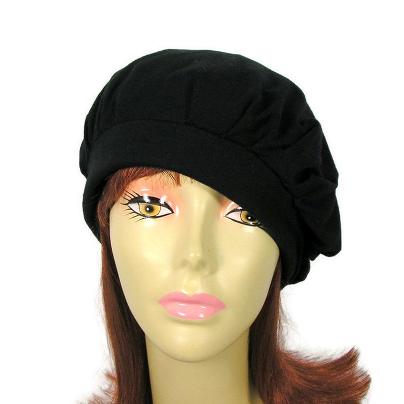 100/% Cotton Jersey Black Slouchy Beret Trendy Slouchy Hat for Hair Loss Chemo Turban Custom Size Summer Slouchy Berets Lightweight Berets