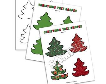 Christmas Evergreen Tree Shapes JPEG and PDF