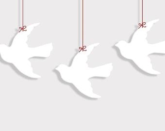 PDF 8 inch Flying Dove Bird Shape