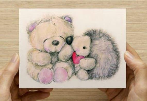 PDF PostcardNotecard Set You Light Up My Life Hedgehog and Bear