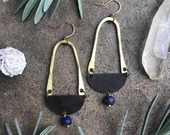 Gypsy Sunset Earrings Brass + Copper Mixed Metals Statement with Lapis Dangle Modern bohemian