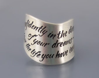 Sterling Silver Thoreau Ring, Inspirational Quote Ring