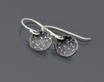 Tiny Sterling Silver Queen Anne's Lace Earrings