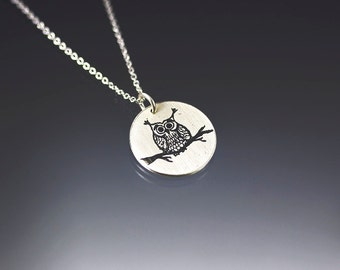 Owl Necklace - Etched Silver Pendant