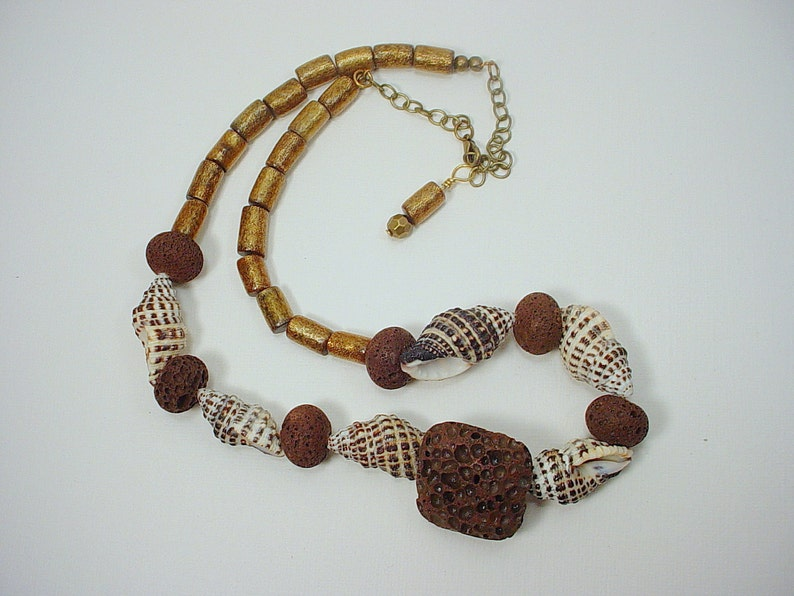 91c4c84309c53 Surfer Dude Necklace with Gold Coral Tubes, Brown Lava Rock and Small Conch  Shells