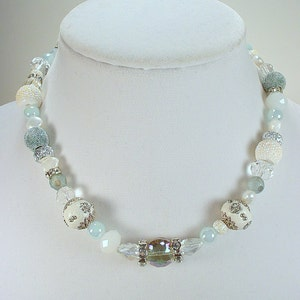 Taupe Tan Glass Pearls Necklace and Bracelet Set Buy ONE or ALL Crackle Glass in Aqua Kashmiri Beads Champagne Faceted