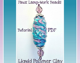 Polymer clay Tutorial-  Faux Lampwork Focal Beads- Jewelry Tutorial- Easy Tutorial- How to Make Polymer Clay Beads