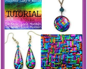 Polymer clay Pendants- Dichroic Look Mosaic Tutorial- Pendant & Earring Tutorial- Jewelry Making Tutorial-Easy Polymer Tutorial