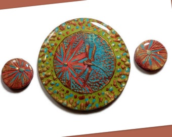 Southwestern Dragonfly Cabochon Set Bead Embroidery Polymer Clay Pendant 40mm Jewelry Making Supplies, Components