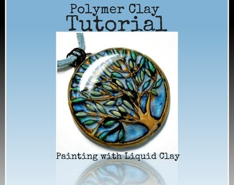Easy Polymer Clay Tutorial- Liquid Clay-Polymer clay Pendant Tutorial- Jewelry Tutorial-Crafts How to Paint with Liquid Polymer Clay